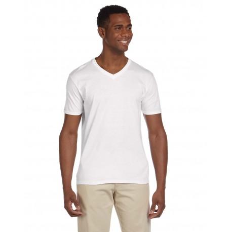 G64V Gildan G64V Adult Softstyle 4.5 oz. V-Neck T-Shirt WHITE
