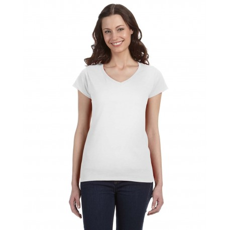 G64VL Gildan G64VL Ladies' SoftStyle 4.5 oz. Fitted V-Neck T-Shirt WHITE