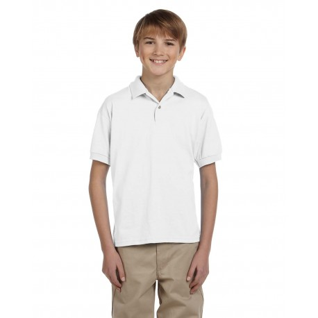G880B Gildan G880B Youth 6 oz., 50/50 Jersey Polo WHITE