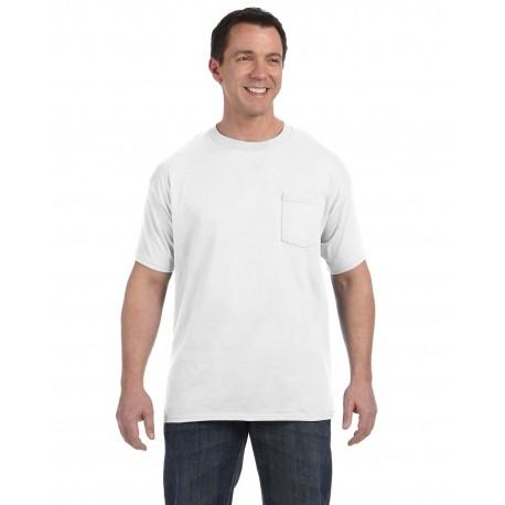 H5590 Hanes H5590 Men's 6.1 oz. Tagless Pocket T-Shirt WHITE