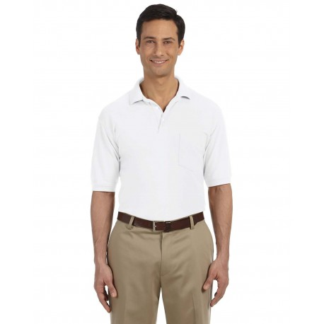 M265P Harriton M265P Men's 5.6 oz. Easy Blend Polo with Pocket WHITE