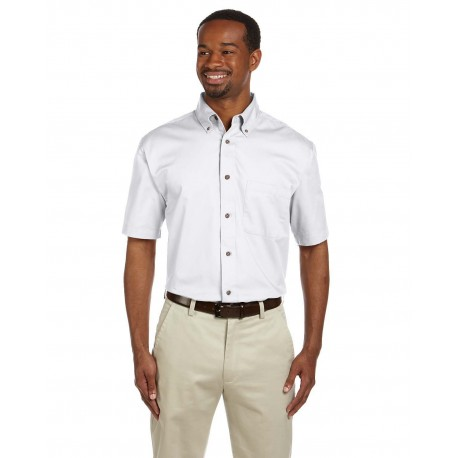 M500S Harriton M500S Men's Easy Blend Short-Sleeve Twill Shirt with Stain-Release WHITE
