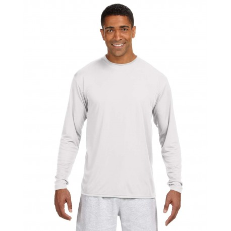 N3165 A4 N3165 Men's Long-Sleeve Cooling Performance Crew WHITE
