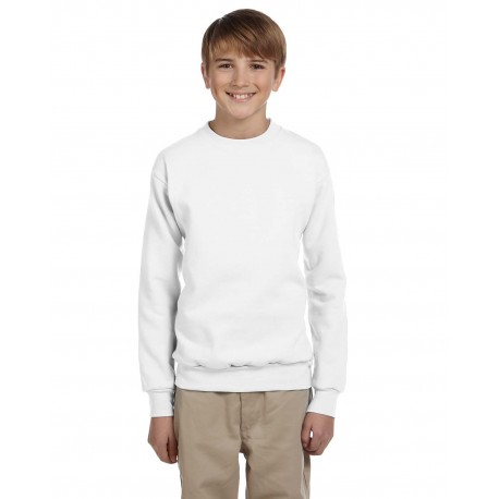 P360 Hanes P360 Youth 7.8 oz. ComfortBlend EcoSmart 50/50 Fleece Crew WHITE
