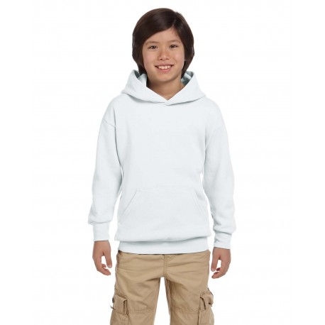 P473 Hanes P473 Youth 7.8 oz. EcoSmart 50/50 Pullover Hood WHITE
