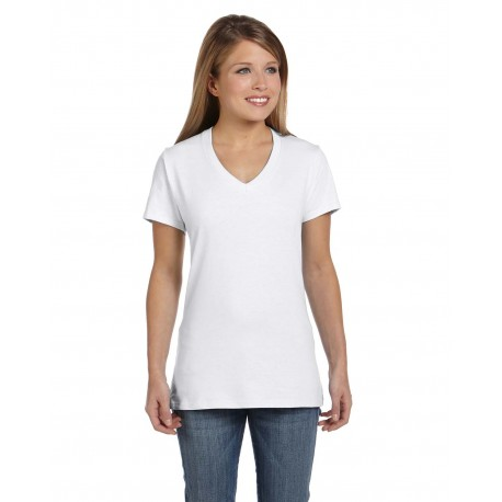 S04V Hanes S04V Ladies' 4.5 oz., 100% Ringspun Cotton nano-T V-Neck T-Shirt WHITE