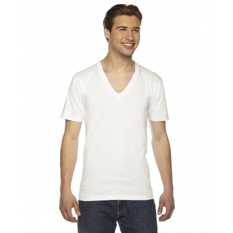 2456 American Apparel 2456 Unisex USA Made Fine Jersey Short-Sleeve V-Neck T-Shirt WHITE