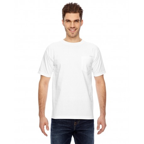 BA7100 Bayside BA7100 Adult Short-Sleeve T-Shirt with Pocket WHITE