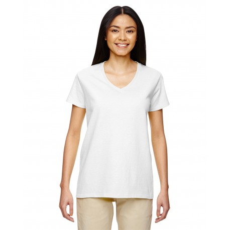 G500VL Gildan G500VL Ladies' 5.3 oz. V-Neck T-Shirt WHITE