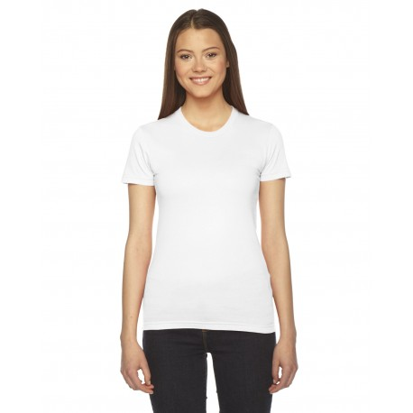 2102 American Apparel 2102 Ladies' Fine Jersey USA Made Short-Sleeve T-Shirt WHITE