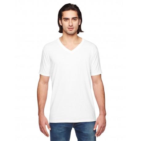 6752 Anvil 6752 Adult Triblend V-Neck T-Shirt WHITE