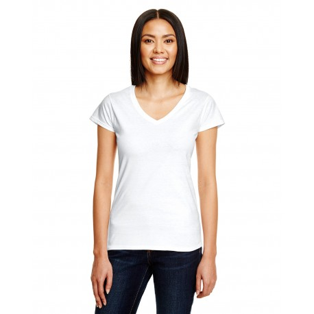 380VL Anvil 380VL Ladies' Lightweight Fitted V-Neck T-Shirt WHITE