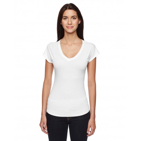 6750VL Anvil 6750VL Ladies' Triblend V-Neck T-Shirt WHITE