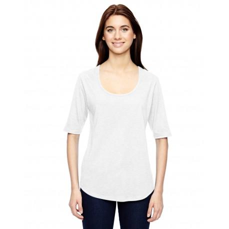 6756L Anvil 6756L Ladies' Triblend Deep Scoop 1/2-Sleeve T-Shirt WHITE