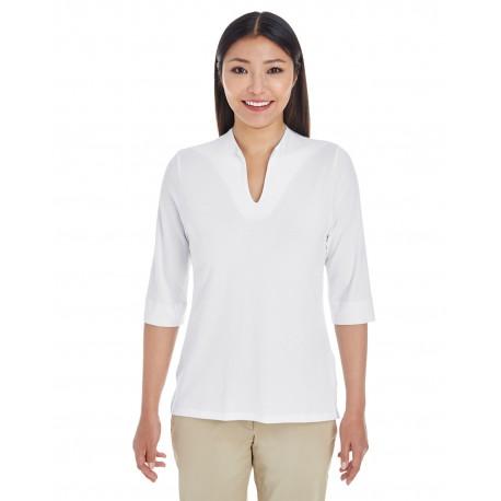DP188W Devon & Jones DP188W Ladies' Perfect Fit Tailored Open Neckline Top WHITE