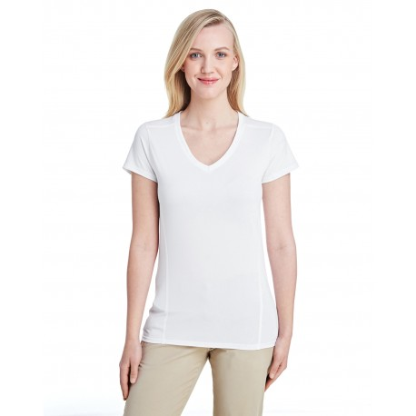 G47V Gildan G47V Ladies' Performance Ladies' 4.7 oz. V-Neck Tech T-Shirt WHITE