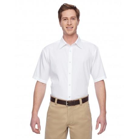 M545 Harriton M545 Men's Advantage Snap Closure Short-Sleeve Shirt WHITE