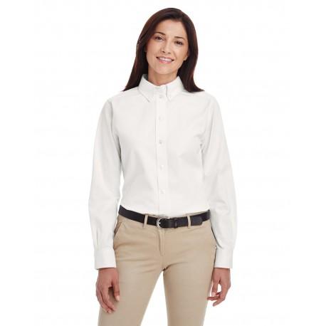 M581W Harriton M581W Ladies' Foundation 100% Cotton Long-Sleeve Twill Shirt with Teflon WHITE