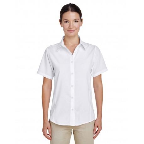 M610SW Harriton M610SW Ladies' Paradise Short-Sleeve Performance Shirt WHITE