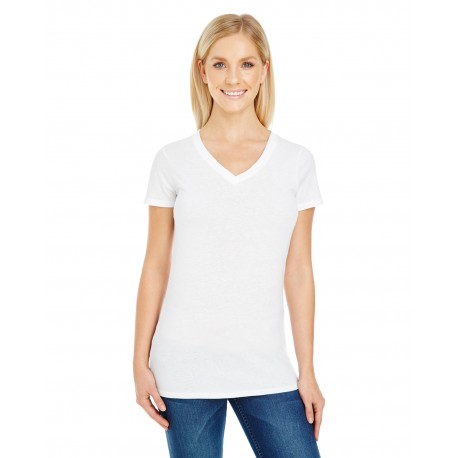 230B Threadfast Apparel 230B Ladies' Pigment-Dye Short-Sleeve V-Neck T-Shirt WHITE