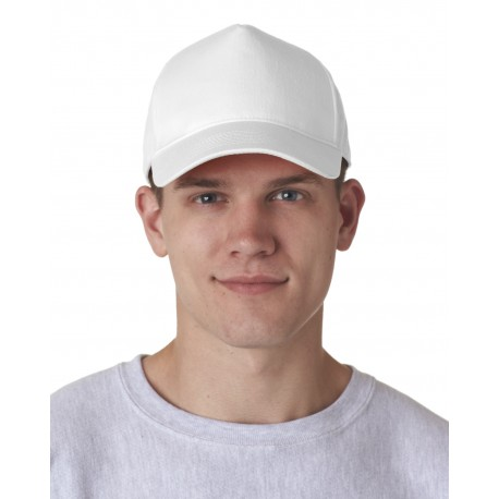8120 UltraClub 8120 Adult Classic Cut Cotton Twill 5-Panel Cap WHITE