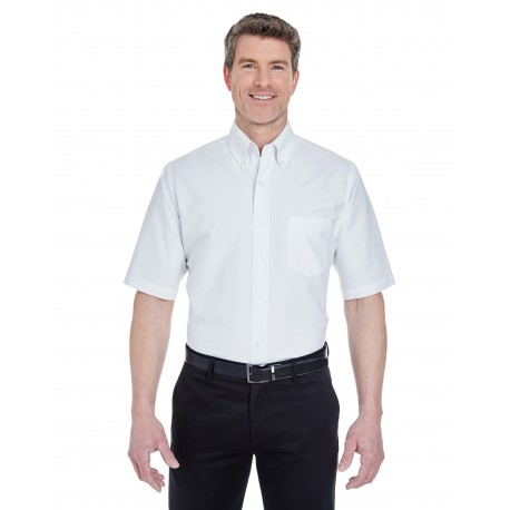 8972 UltraClub 8972 Men's Classic Wrinkle-Resistant Short-Sleeve Oxford WHITE