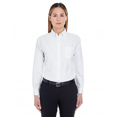8990 UltraClub 8990 Ladies' Classic Wrinkle-Resistant Long-Sleeve Oxford WHITE