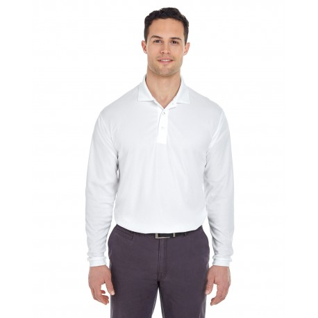 8210LS UltraClub 8210LS Adult Cool & Dry Long-Sleeve Mesh Pique Polo WHITE
