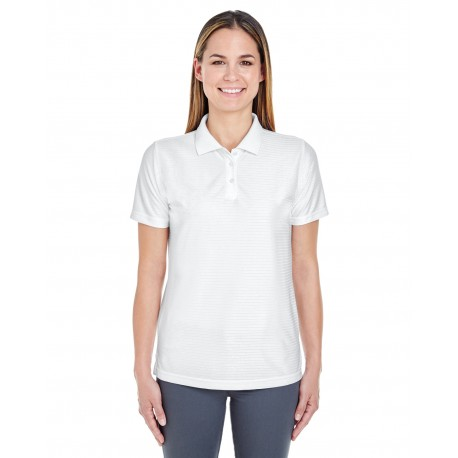 8413L UltraClub 8413L Ladies' Cool & Dry Elite Tonal Stripe Performance Polo WHITE