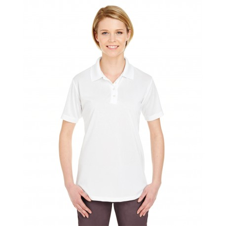 8610L UltraClub 8610L Ladies' Cool & Dry 8-Star Elite Performance Interlock Polo WHITE