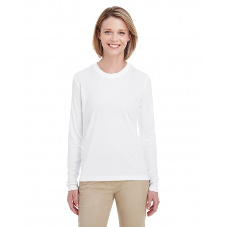 8622W UltraClub 8622W Ladies' Cool & Dry Performance Long-Sleeve Top WHITE