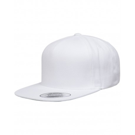 YP5089 Yupoong YP5089 Adult 5-Panel Structured Flat Visor Classic Snapback Cap WHITE