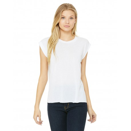 8804 Bella + Canvas 8804 Ladies' Flowy Muscle T-Shirt with Rolled Cuff WHITE
