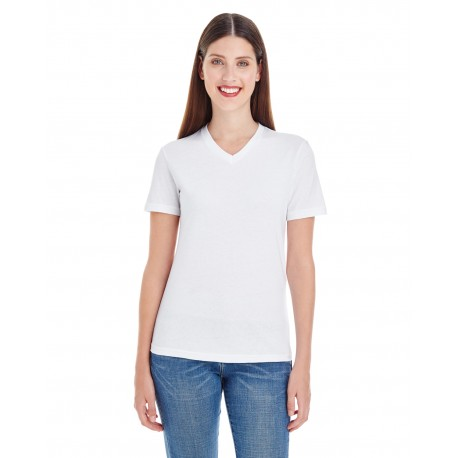 2356W American Apparel 2356W Ladies' Fine Jersey Short-Sleeve V-Neck WHITE