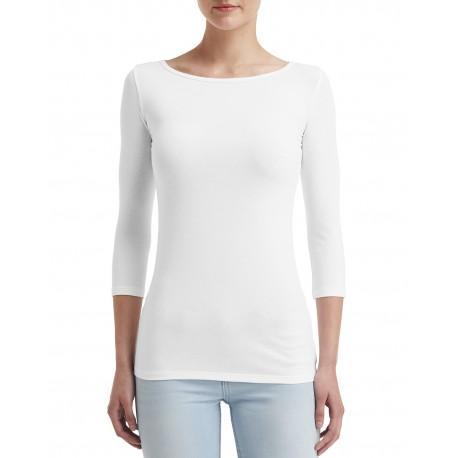 2455L Anvil 2455L Ladies' Stretch 3/4 Sleeve T-Shirt WHITE