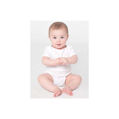 4001W American Apparel 4001W Infant Baby Rib Short-Sleeve One-Piece WHITE