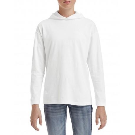 987B Anvil 987B Youth Long-Sleeve Hooded T-Shirt WHITE