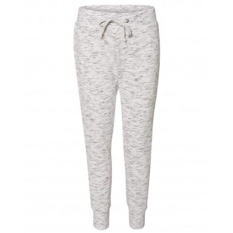 JA8675 J America JA8675 Ladies' Melange Fleece Jogger Pant WHITE