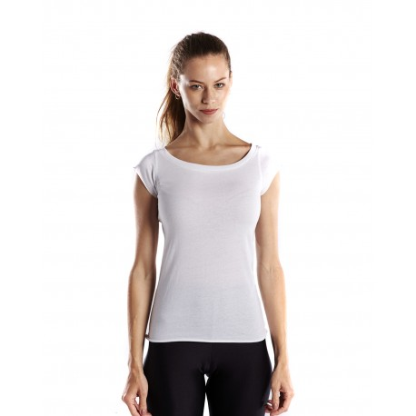 US180 US Blanks US180 Ladies' 3.8 oz. Cap Sleeve Raw Edge Open Neck WHITE