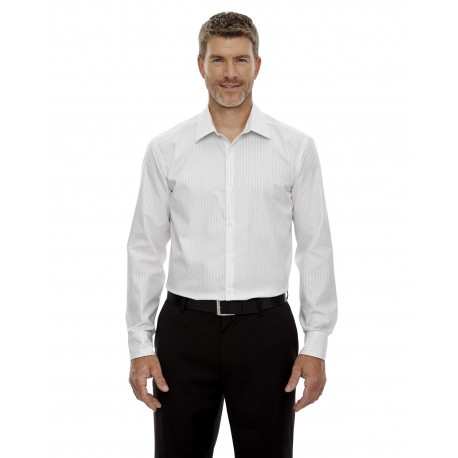 88674 North End 88674 Men's Boardwalk Wrinkle-Free Two-Ply 80's Cotton Striped Tape Shirt WHITE 701