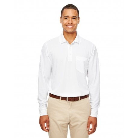 88192P Core 365 88192P Adult Pinnacle Performance Long-Sleeve Pique Polo with Pocket WHITE 701