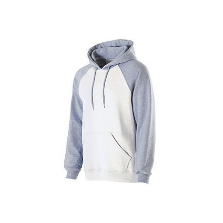 229179 Holloway 229179 Adult Cotton/Poly Fleece Banner Hoodie WHITE/ATH HTHR