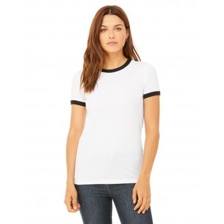 B6050 Bella + Canvas B6050 Ladies' Jersey Short-Sleeve Ringer T-Shirt WHITE/BLACK