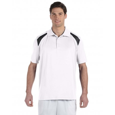M318 Harriton M318 Adult 4 oz. Polytech Colorblock Polo WHITE/BLACK