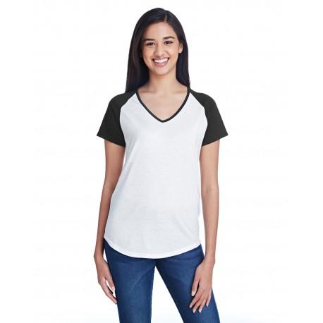 6770VL Anvil 6770VL Ladies' Tri-Blend Raglan T-Shirt WHITE/BLACK