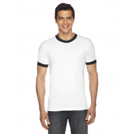 BB410W American Apparel BB410W UNISEX Poly-Cotton Short-Sleeve Ringer T-Shirt WHITE/BLACK