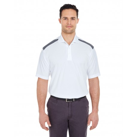 8215 UltraClub 8215 Adult Cool & Dry Two-Tone Mesh Pique Polo WHITE/CHARCOAL