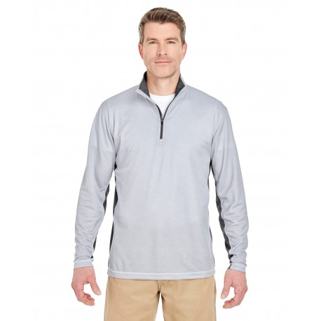 8237 UltraClub 8237 Adult Two-Tone Keyhole Mesh Quarter-Zip Pullover WHITE/CHARCOAL