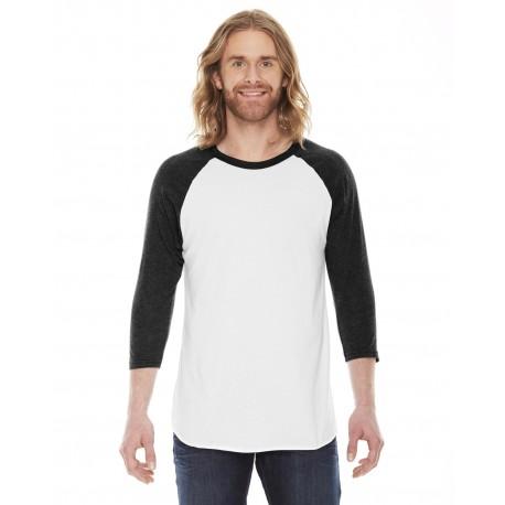 BB453 American Apparel BB453 Unisex Poly-Cotton USA Made 3/4-Sleeve Raglan T-Shirt WHITE/HTH BLACK