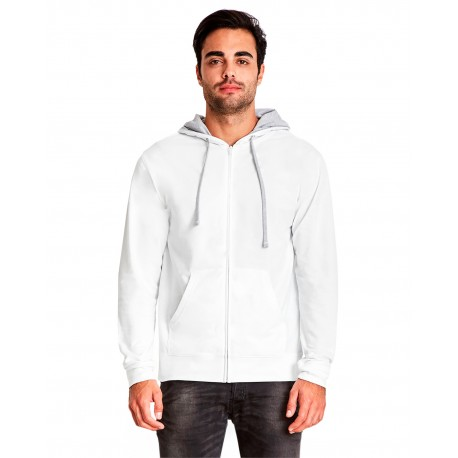 9601 Next Level 9601 Adult French Terry Zip Hoody WHITE/HTHR GRAY
